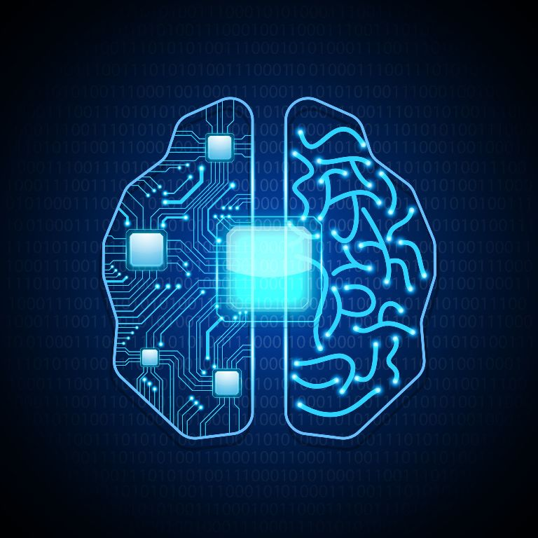 brain with circuit board texture.vector