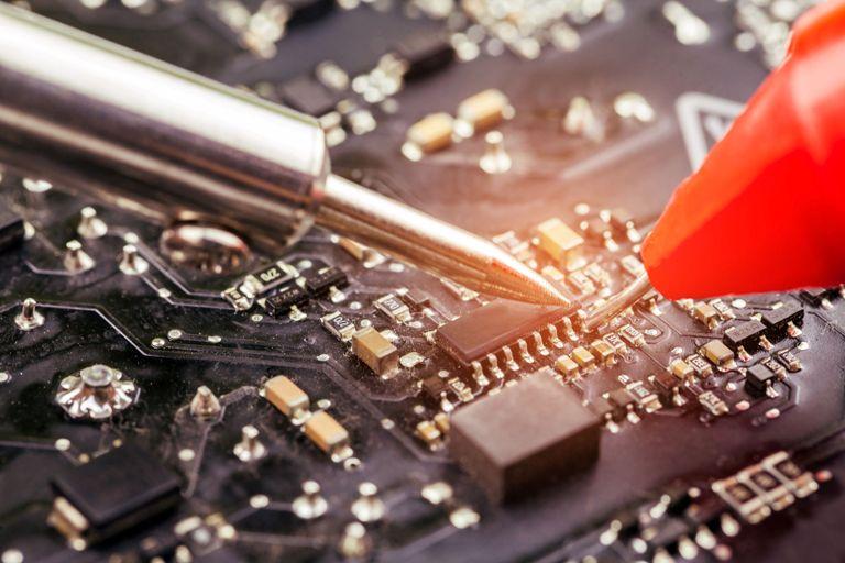 repair of computer board soldering.selective focus