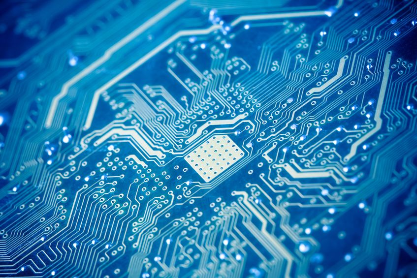 circuit board with blue tone